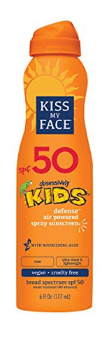 Kiss My Face Kids Defense Continuous Spray Sunscreen Spf 50 Sunblock, 6 Oz
