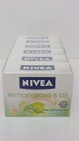 6 X Bars Of Nivea Lemongrass &Amp; Oil Soap 6X100G Pampering Oils
