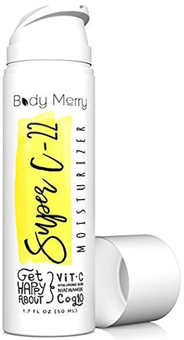 Super C-22 Moisturizer- Vitamin C Cream 22% W Hyaluronic Acid 20% - 2-In-1 Serum + Anti-Aging Lotion For Wrinkles & Acne - Best Lotion For Day Or Night Use - Amped W Coq10 + Niacinamide