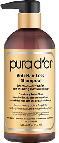 Pura D'Or Anti-Hair Loss Shampoo (Gold Label), Effective Solution For Hair Thinning & Breakage, New & Improved Best Formula Yet W/ Aloe & Red Korean Seaweed, 16 Fluid Ounce (Packaging May Vary)