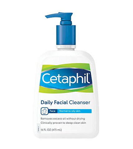Cetaphil Daily Facial Cleanser, For Normal To Oily Skin, 16 Ounce