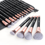 Makeup Brush Set, Anjou 16Pcs Premium Cosmetic Brushes For Foundation Blending Blush Concealer Eye Shadow, Cruelty-Free Synthetic Fiber Bristles, Pu Leather Roll Clutch Included, Rose Golden