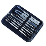 9Pcs Blackhead Remover Tool Kit , Aooher Professional Stainless Steel Pimple Comedone Extractor Instrument Tool Set For Curing Facial Blemish Acne Whitehead (2 Style Package Send By Random)