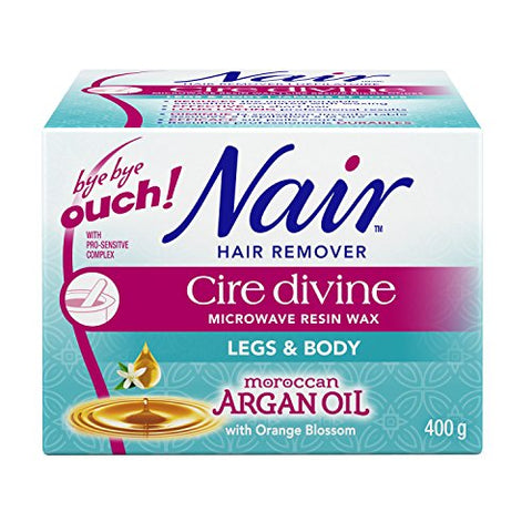 Nair Cire Divine Microwaveable Body Hair Removal Wax Kit (Moroccan Argan Oil, 400G/14Oz)