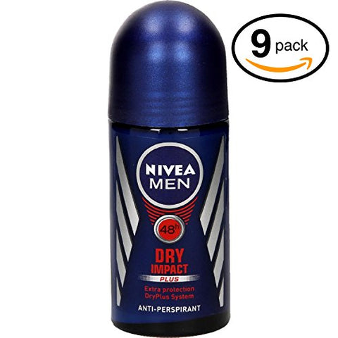 (Bottles) Nivea Dry Impact Men'S Roll-On Antiperspirant & Deodorant. 48-Hour Protection Against Underarm Wetness. (Bottles, 1.7Oz / 50Ml Each Bottle)