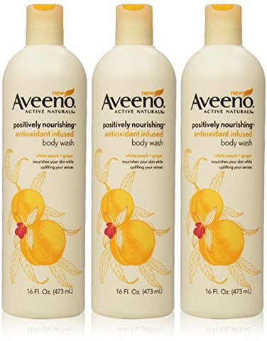 Aveeno Active Naturals - Postively Nourishing Body Wash - White Peach + Ginger - Net Wt. 16 Fl Oz (473 Ml) Per Bottle -