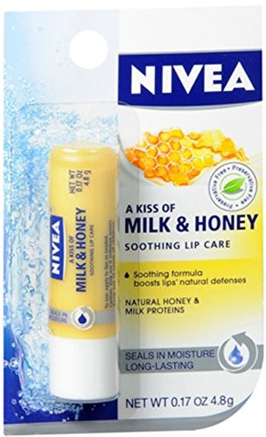 Nivea A Kiss Of Milk & Honey Natural Defense & Soothing Lip Care 0.17 Oz
