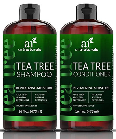 Artnaturals Tea-Tree-Oil Shampoo And Conditioner Set - 2 X 16Oz  Sulfate Free  Made With Therapeutic Grade Tea Tree Essential Oil - Deep Cleansing For Dandruff, Dry Scalp & Itchy Hair  Men & Women
