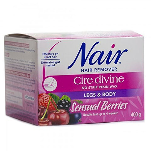 Nair Cire Divine Microwaveable Body Hair Removal Wax Kit (Sensual Berries, 400G/14Oz)
