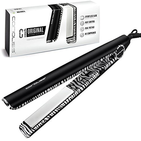 Corioliss C1 Professional Titanium Flat Iron, Platinum Zebra, 2 Year Warranty, 1 Titanium Plates, Negative Ion, Anti-Static, Anti-Frizz, Heat Resistant Pouch Included