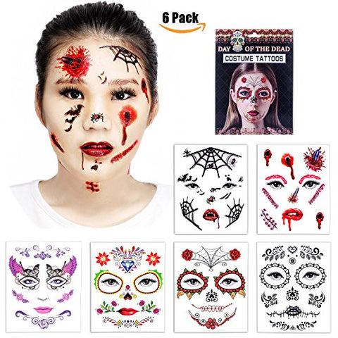 Halloween Temporary Face Tattoos - Skull Scar Spider Blood Bat Rose Floral Fake Tattoos Sticker For Women Men Kids Boys With 6 Realistic Full Face Tattoo Mask Waterproof