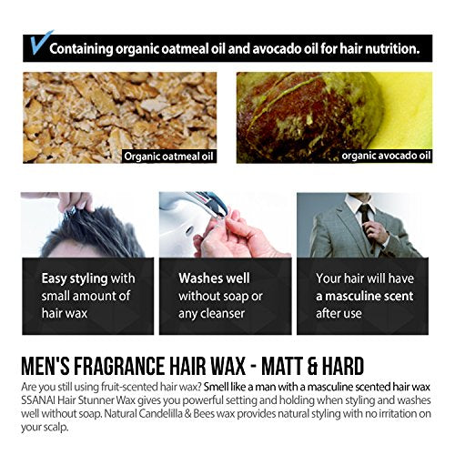 Ssanai Hair Stunner - Men'S Hair Styling Matte Wax Workable Molding Cream  Paste Sculpting Texturizer Putty, Super Strong Hold With No Shine, For  Short