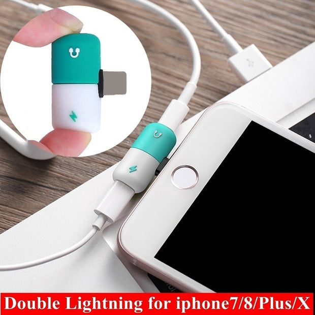 outlet store 0dbc2 b5571 2 In 1 Charging & Audio Aux Adapter Case For IPhone X 8 7 Plus For Lighting  Capsule 3.5mm Headphone Jack Adaptador Accessories
