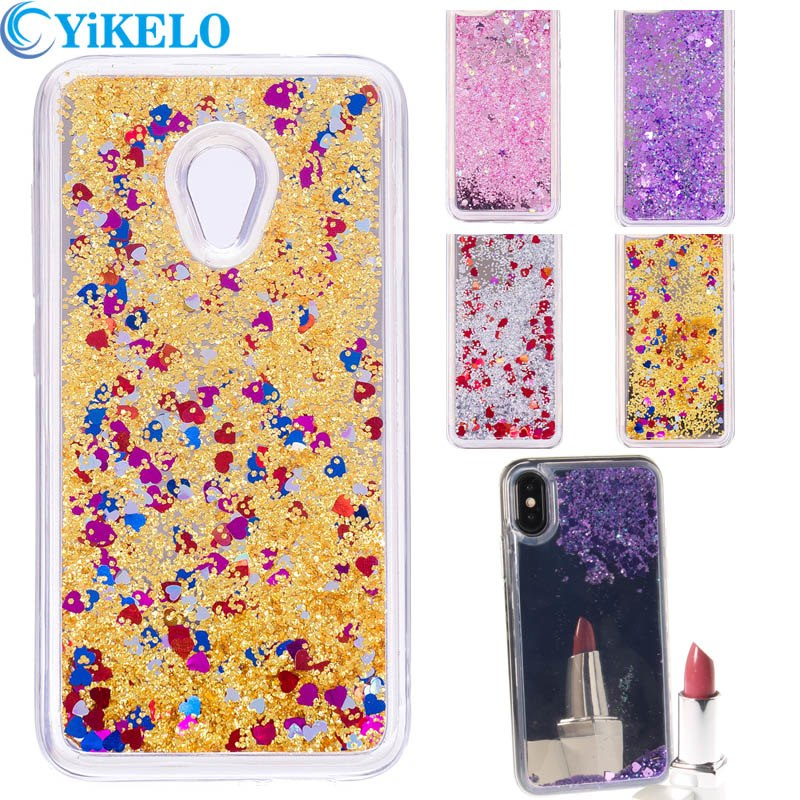 2018 Love Heart Phone Case For Alcatel U5 4G 5044 5044D 5044Y Mirror  Glitter Stars Liquid Quicksand Hard Back Cover Capa