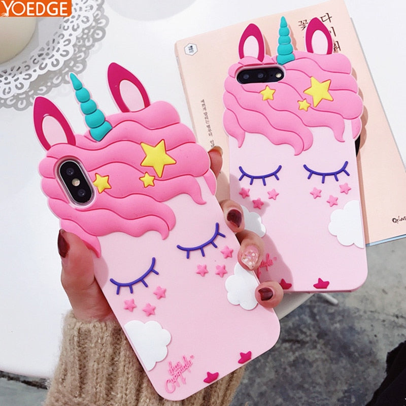 3D Soft Silicone Unicorn Case-Pink