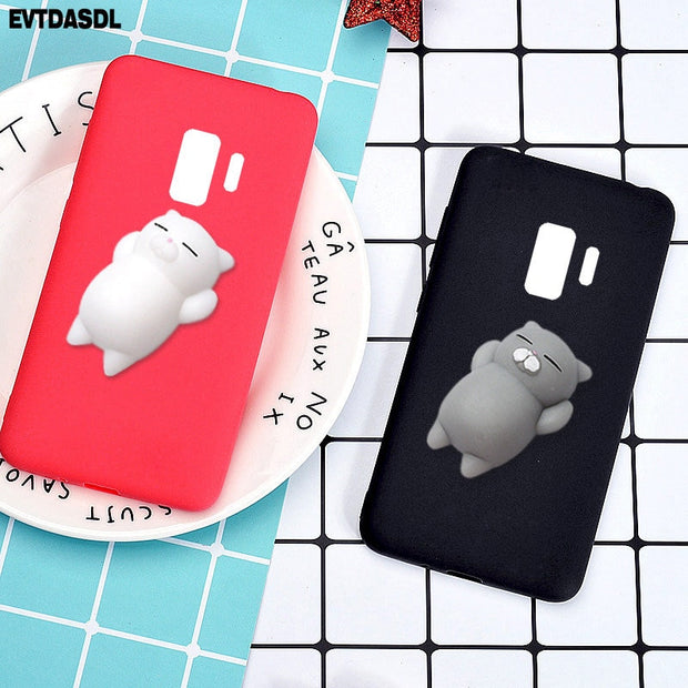 outlet store 51424 716cd 3D Squishy Cute Cat Phone Case For Samsung Galaxy S9 Reliever Back Cover  For Galaxy S9 S 9 Plus Sleeping Cat Knead Rubber S9