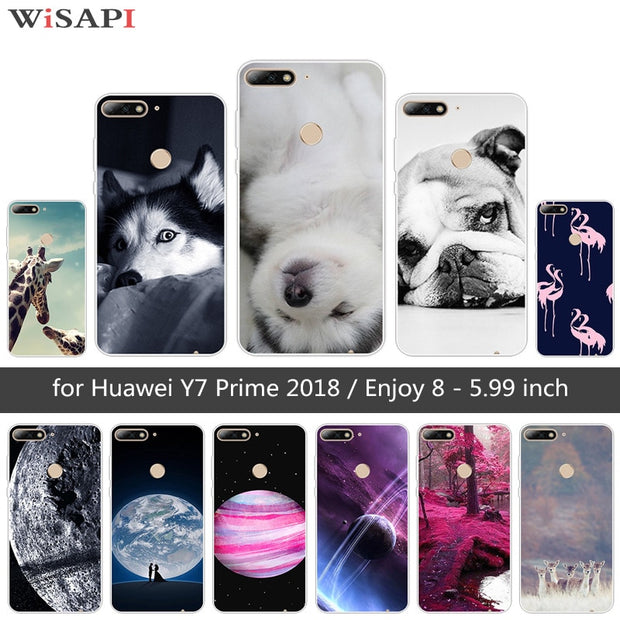 5 99 Inch For Huawei Y7 Prime 2018 Y7 2018 Back Phone Doggy Cover For  Huawei Enjoy 8 Soft Silicone TPU For Huawei Nova 2 Lite