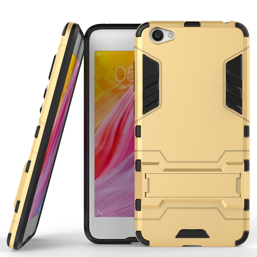 Armor 2 In 1 Back Cover Case For Vivo Y55 PC&TPU Fundas Stand Function  Coque Shockproof For BBK Vivo Y55 Y55L Y55S
