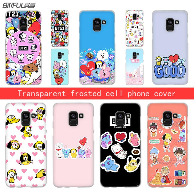 new arrivals 4eaa3 b7344 BTS BT21 Funny Transparent Phone Hard Case For Samsung Galaxy A3 A5 A6s A7  A8 2016 2017 A6 2018 Plus Note 5 8 9