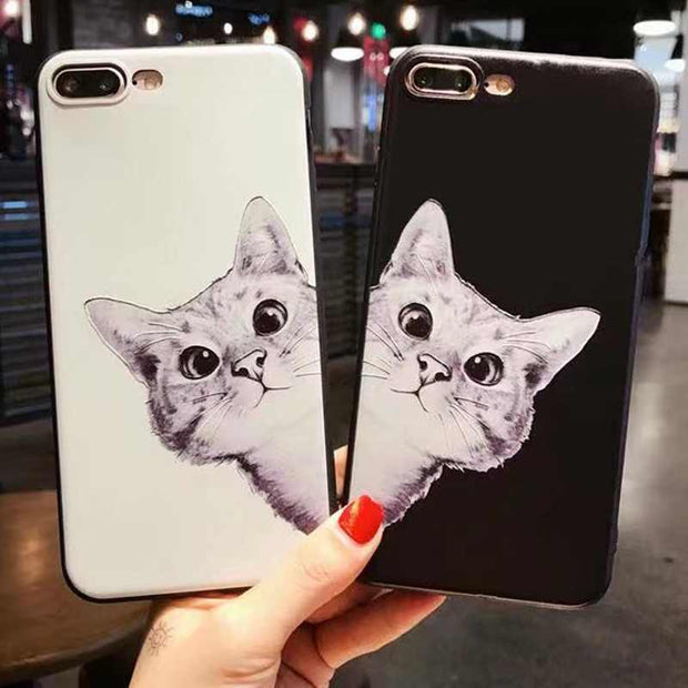 1404b71a27 Black White Cute Cartoon Animal Cat Couple Phone Cases For Iphone 6 Case  Soft Silicone Back