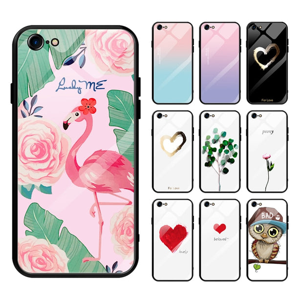 36d67641de Couple Tempered Glass Case For IPhone XS MAX XR Love Heart Hard Back Cover  Soft Silicone