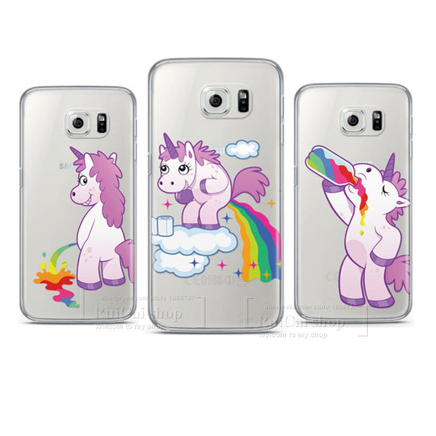 official photos c4903 52602 Cute Hippo Rainbow Unicorn Horse PC Case For Coque Samsung Galaxy S3 S4 S5  Mini S6 S6 Edge S7 S7 Edge S8 S9 Plus Back Cover