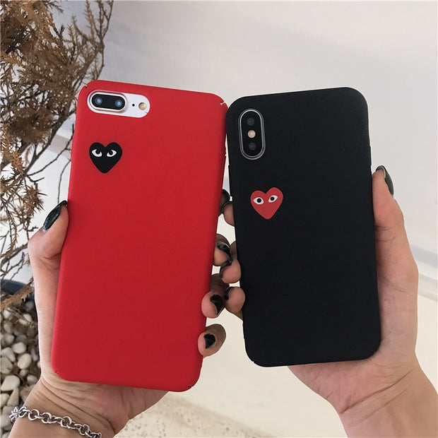 brand new 22722 7105f Fashion CDG Play Comme Des Garcons Case For IPhone 8 7 6 6s Plus X Xs Max  Xr Red Simple Heart Matte Hard PC Couples Phone Cover