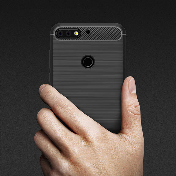 0a3574baa14 For Huawei Honor 7C Case Enjoy 8 Cases OMEVE Shockproof Carbon Fiber B