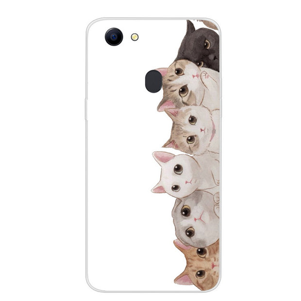 24bb31bb026292 For OPPO F5 Phone Case Cartoon Soft Silicone Cat Animal Flower Pattern TPU  Back Cover For