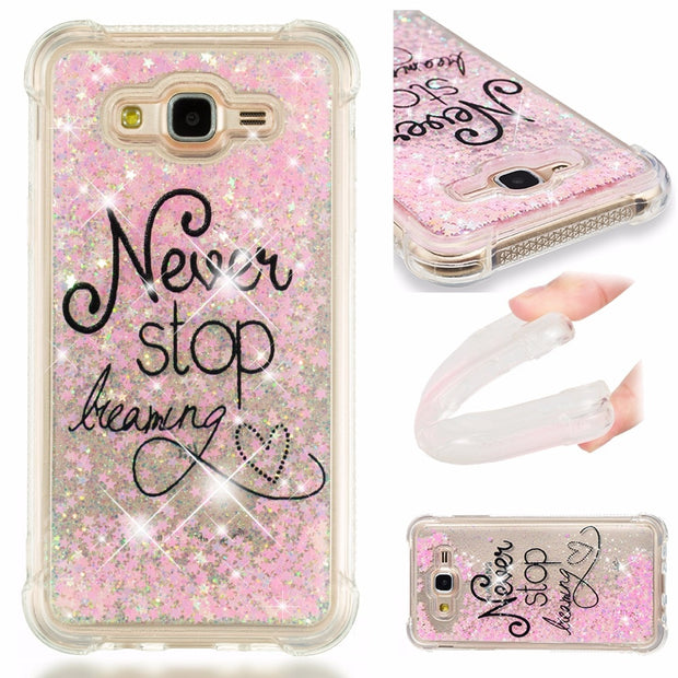 For Samsung J7 2015 2016 2017 J7 Verizon J727 Phone Case Soft Silicone TPU  Bling Glitter Quicksand Back Cover SM-J710 J700 J 7