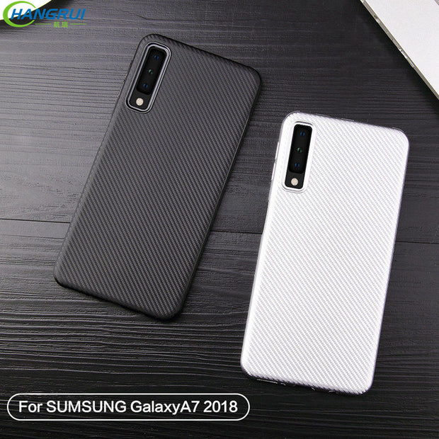 official photos 52098 4f4cc Hangrui Business Style Tpu Soft Case For Samsung A7 2018 Carbon Fiber  Texture Back Covers For Samsung Galaxy A7 2018 Case