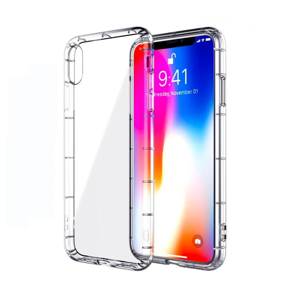 buy popular 11d4e 02a90 KSELF TPU Case For IPhone 5 5S SE 6 6S Plus 7 8 Plus X XS MAX XR Crystal  Silicone Clear Shock Resistant Case With Lanyard Hole
