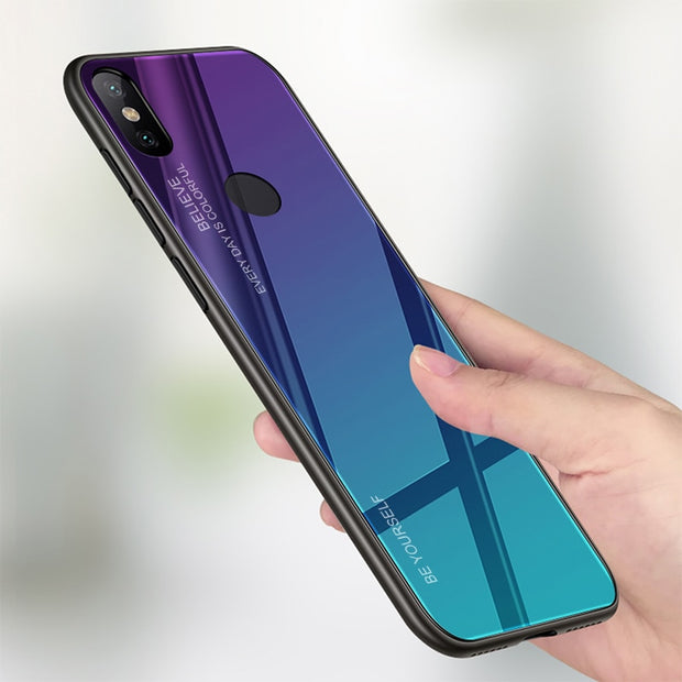 90db957f6 Luxury Aurora Gradient Color Glass Cover For Xiaomi Mi6 Mi8 Mi A2 Lite A1  Phone Case