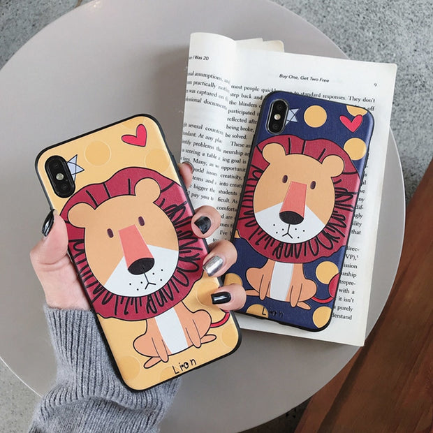 08613d5bc7 Luxury Relief Cute Lion Phone Case For Iphone X XS XR XSMax Case Fashion Cartoon  Couples
