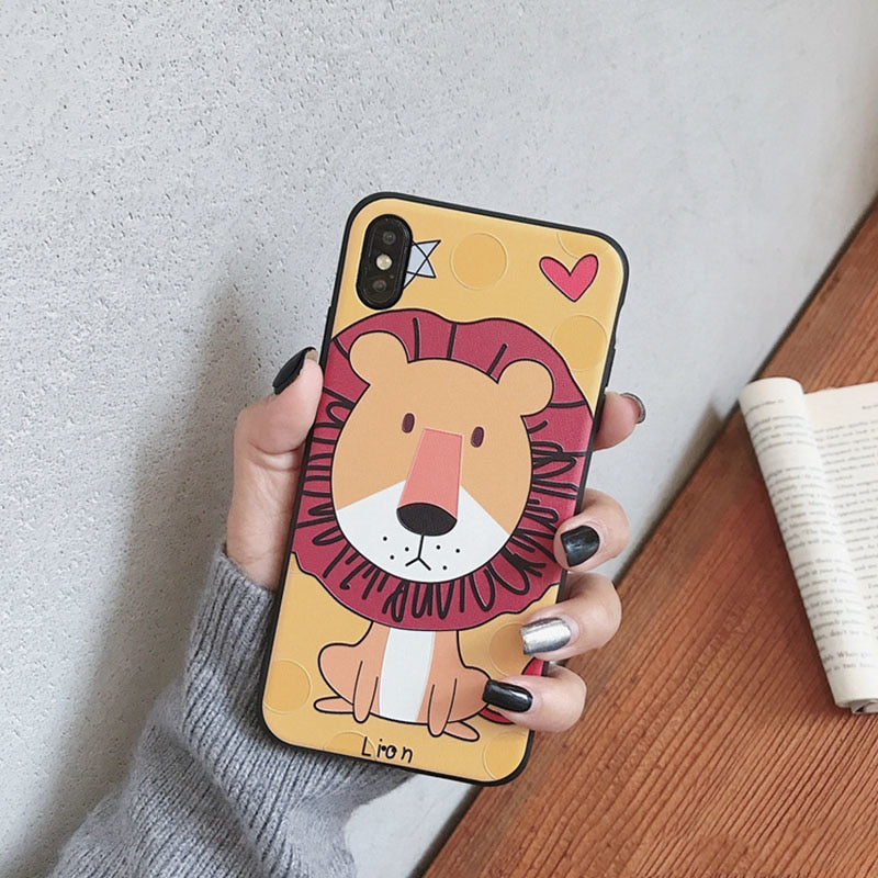 7e4433b58b Luxury Relief Cute Lion Phone Case For Iphone X XS XR XSMax Case Fashion Cartoon  Couples Cases For Iphone6 6s 8 7 Plus Soft Capa