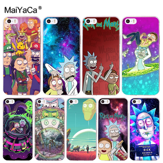 timeless design dd0e7 d31d6 MaiYaCa Rick And Morty Cute Phone Accessories Case For IPhone 8 7 6 6S Plus  X 10 5 5S SE XS XR XS MAX Coque Shell