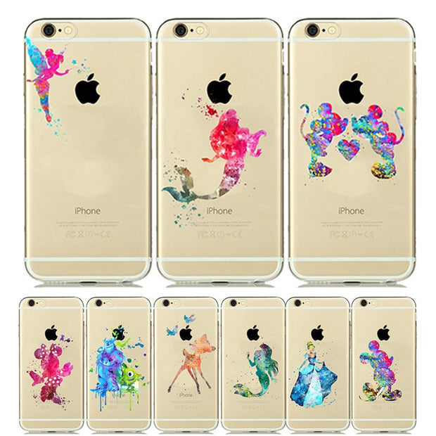 lowest price 540ea 57b1b Mickey Minnie Mouse Silicone Cover For IPhone SE 5s 6s Plus 7 8 Plus Case  Snow White Ariel Mermaid For IPhone6 IPhone7 Capinha