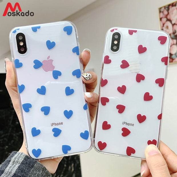 93a8274de8 Moskado Phone Case For Iphone 6 6S 7 8 Plus Cartoon Love Heart Clear Ultra  Thin
