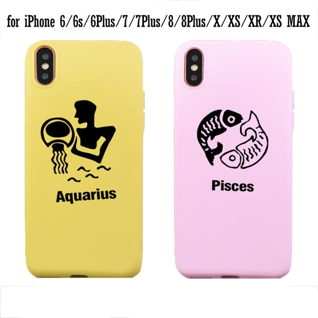 Silicone Phone Case Cute Design Constellations Aqusrius Pisces Background Covers For Iphone X Xr Xs Max 7 8 Plus 6 6s Gifts