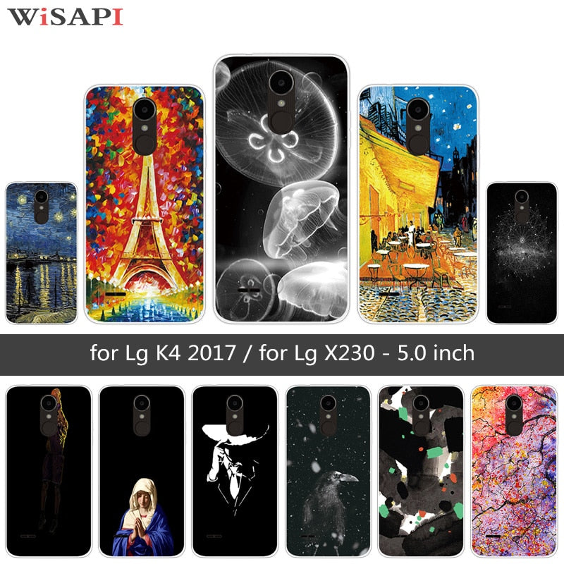 Soft TPU Case For LG K4 2017 X230 TPU Clear Silicone Cases Back Slim Cover  For LG K4 2017 5 0 Inch Phone Jellyfish Fundas Capa