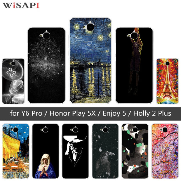 TPU Case For Huawei Honor 4C Pro TIT-AL00 Y6 Pro TIT-L01 Enjoy 5 Honor  Holly 2 Plus Jellyfish Cover For Huawei Honor Play 5X