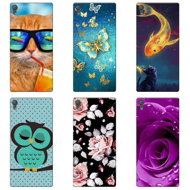 TPU Soft Print Phone Case For Sony Xperia L1 G3311 G3312 G3313 Soft  Silicone Back Cover Case Painted Pattern Rose Flower