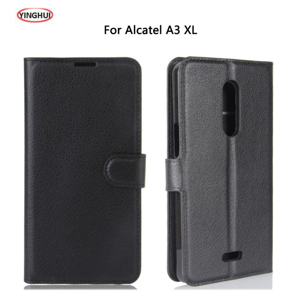 new product fb28b c098a YINGHUI For Alcatel A3 XL Case Luxury Flip PU Leather Back Cover Case Coque  For Alcatel A3XL Protective Phone Bag Skin Carcasas