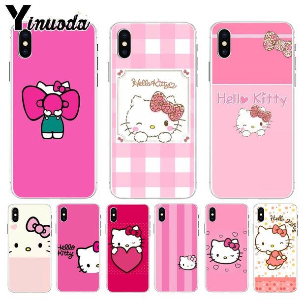 Yinuoda Hello Kitty Printing Drawing Protection Phone Cover For Iphone 8 7 6 6s Plus X Xs Max 10 5 5s Se Xr Coque Shell