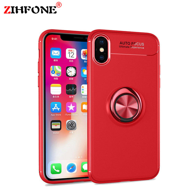 best service 1d574 38e5e ZIHFONE Coque Oneplus 6 Ring Holder Phone Cases Magnetic Car Stand Soft  Silicone Matte Back Cover For Oneplus 6T Case Fundas