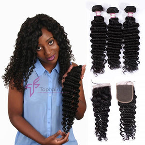 3 Bundles With 4x4 Closure Deep Wave Virgin Hair Free Part