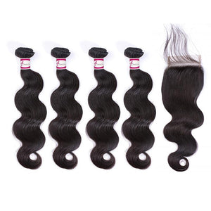 4 Bundles with 4x4 Closure Body Wave Virgin Hair