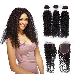 3 Bundles With 4x4 Closure Deep Curly Virgin Hair Free Part