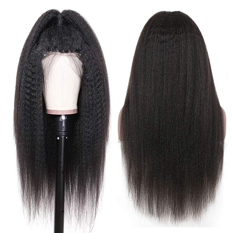 affordable 360 full lace front kinky straight wigs human hair