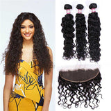 3 Bundles With 13x4 Frontal Brazilian Water Wave